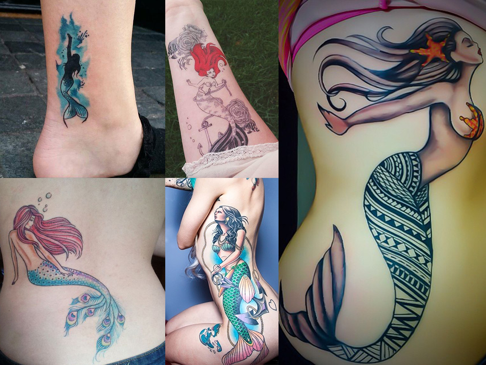 Tatuagens de sereias coloridas