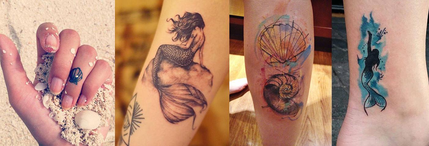 Tatuagens de sereias e conchas que são pura inspiração